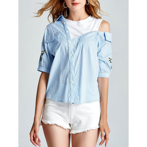 Blouses - Women's Trendy Blue Botanical Embroidered Open Shoulder Striped Shirt
