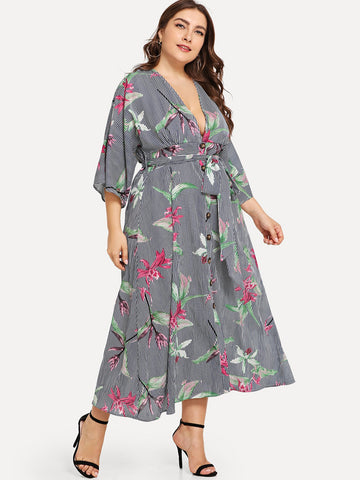 Plus Size Dresses - Women's Trendy Plus Size Multicolor Plunge Neck Belted Floral Print Dress