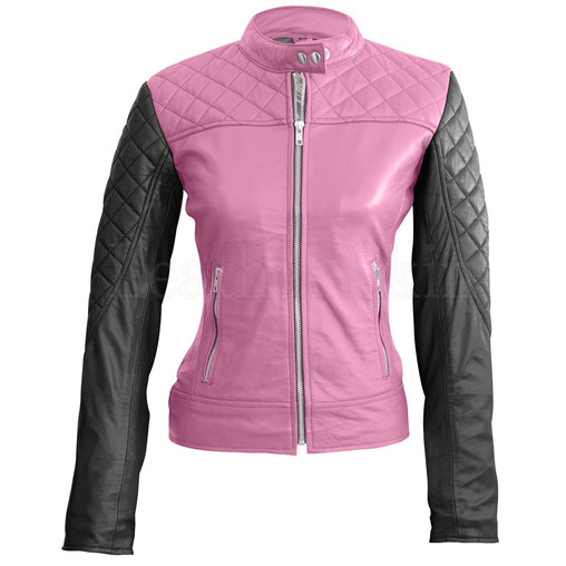 Plus Size Pink Leather Jacket