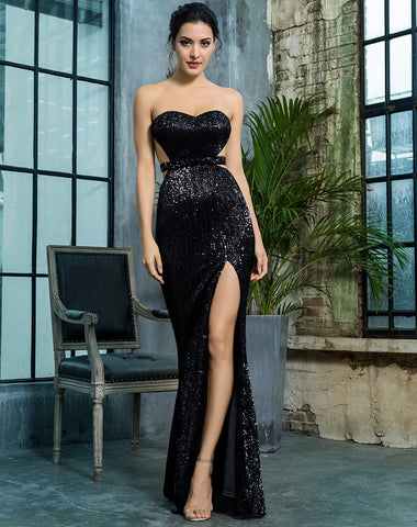 Black Sequin Gown