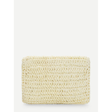 Beige Chain Trim Woven Clutch Bag