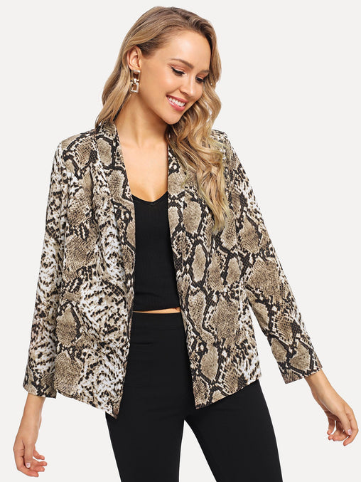 Multicolor Shawl Collar Snakeskin Print Blazer With Belt