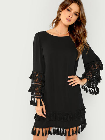Cocktail & Party Dresses - Women's Trendy Black Tassel Detail Solid Dress