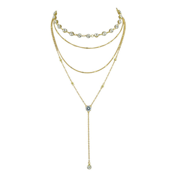 Fashiontage gold simple diamond pendant multilayer necklace gold simple diamond pendant multilayer necklace aloadofball Gallery