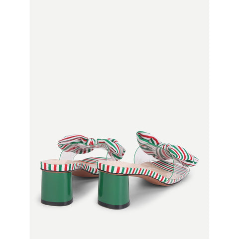 Multicolor Bow Tie Striped Heeled Mules