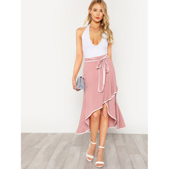 Contrast Binding Self Tie Asymmetric Ruffle Skirt - Fashiontage