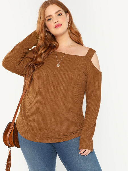 Plus Size Brown Asymmetric Shoulder Ribbed Tee