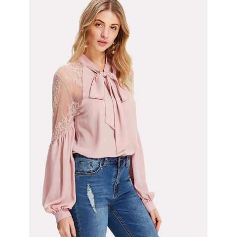 Sweatshirts - Women's Trendy Pink Tie Neck Lace Shoulder Lantern Sleeve Blouse