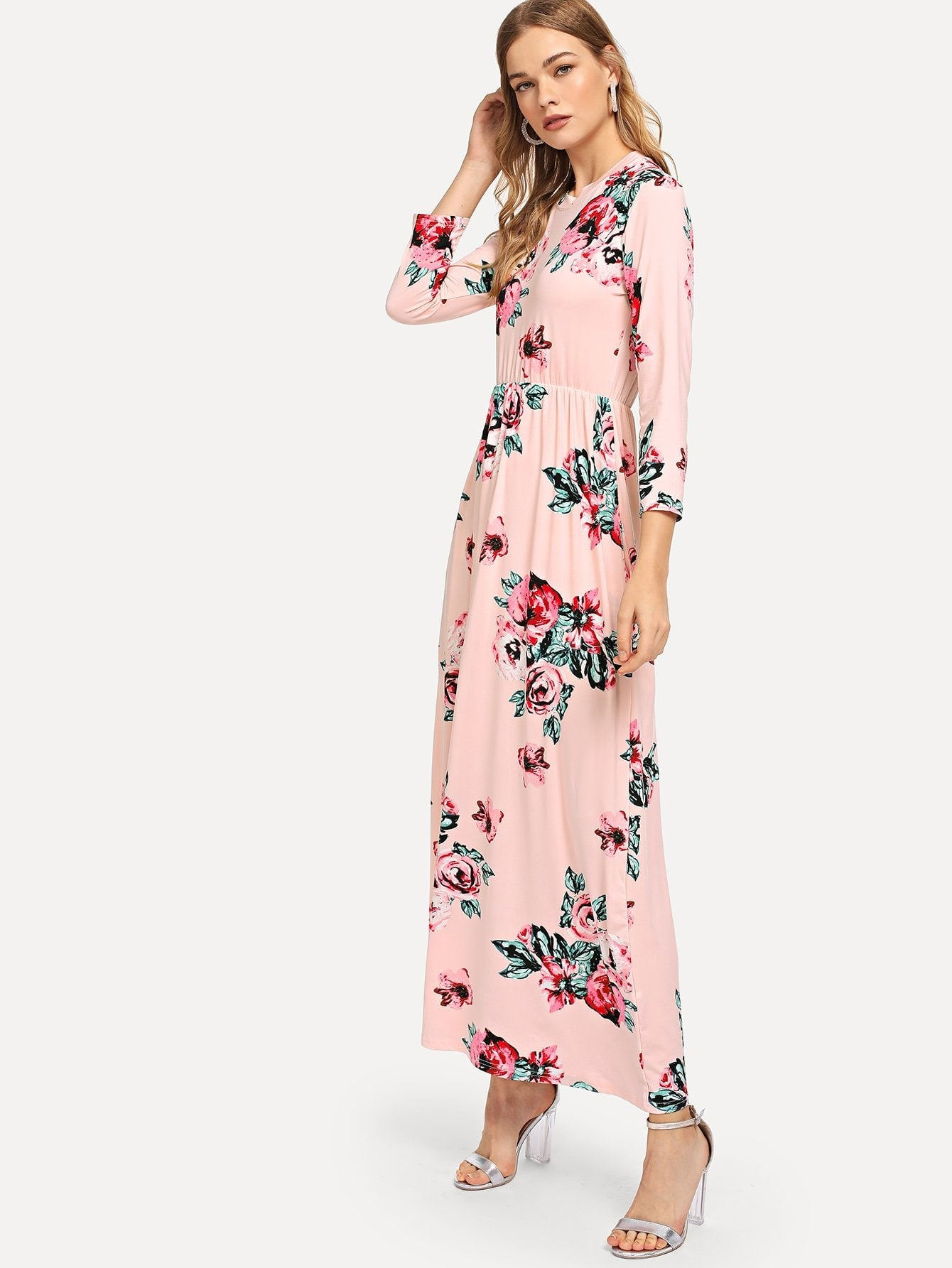 f79d8275a8bc Clothing | Shop Women's Pink Floral Print Long Dress at Fashiontage