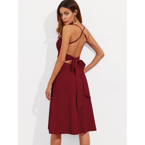 Burgundy Crisscross Belted Back Fitted And Flared Dress