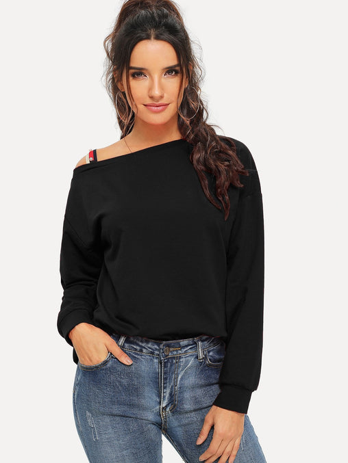 Black Pearls Beaded Asymmetrical Neck Sweater
