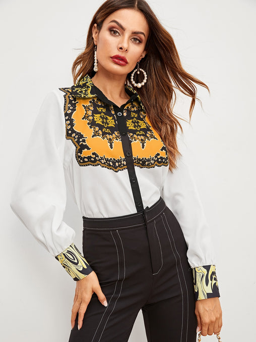 White Contrast Trim Long Sleeve Blouse