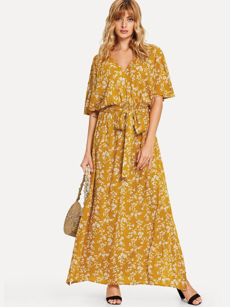 Yellow Waist Elastic Floral Maxi Dress