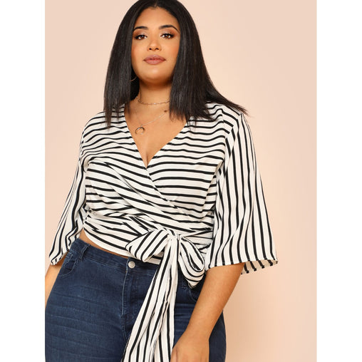 Plus Size Black And White Kimono Sleeve Belted Wrap Top