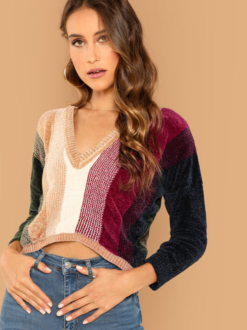 Multicolor Vneck Soft Knit Large Striped Colorblock Sweater