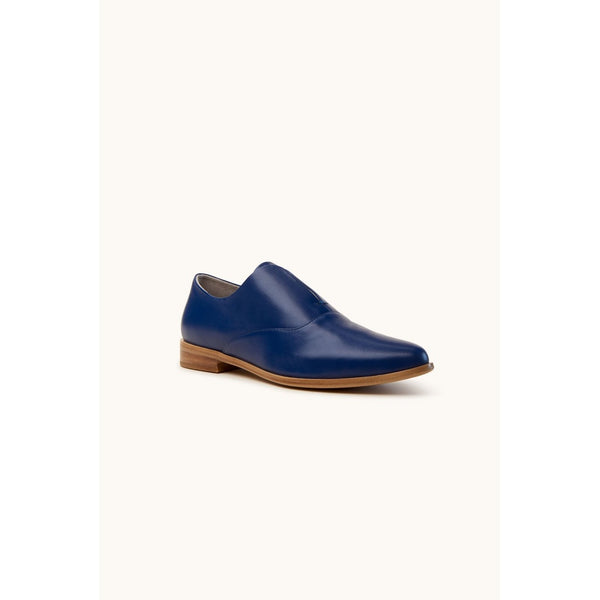 Dark Blue Soft Leather Flat Shoes