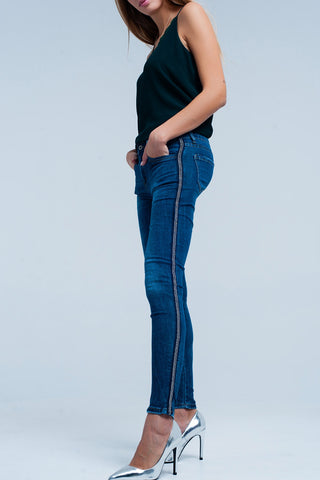 Skinny Jeans - Women's Trendy Blue Skinny Striped Jeans