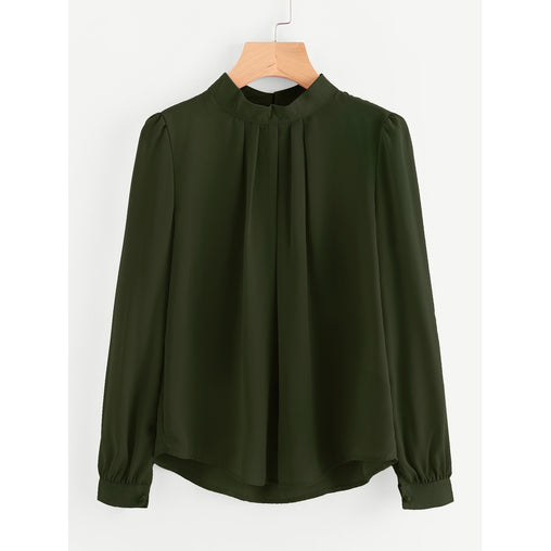 Army Green Pleated Detail Button Keyhole Back Chiffon Blouse