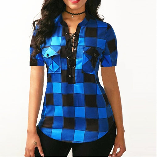 Plus Size Vneck Lace Up Plaid Blouse Tops Irregular Short Sleeve Shirt S5xl