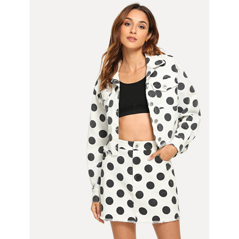 Skirts - Women's Trendy Black And White Flap Pocket Front Polka Dot Top Skirt Set