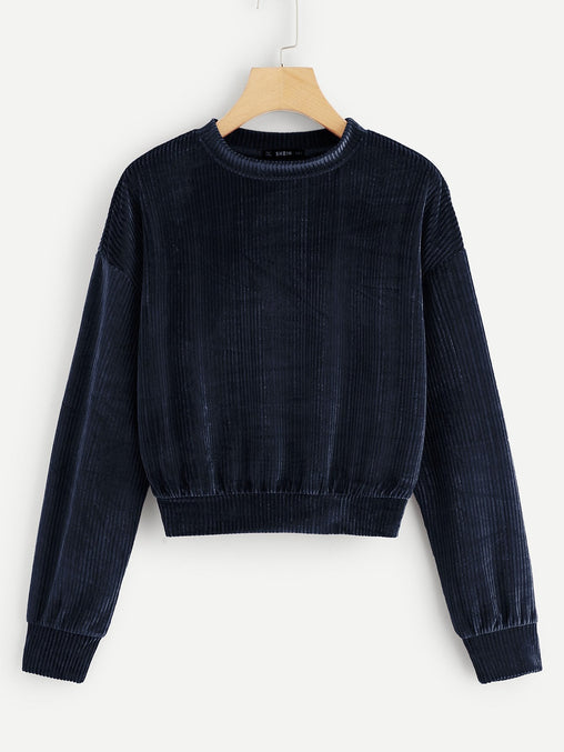 Navy Blue Drop Shoulder Ribbed Velvet Sweatshirt