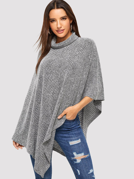 Plus Size Grey High Neck Marled Poncho Coat