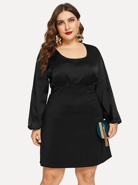 Plus Size Black Cut-And-Sew Midi Dress