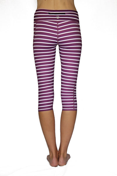 Dark Purple and White Stripe Pocket Activewear Bottom