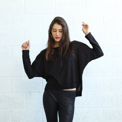 Black Striped Cotton Sweater