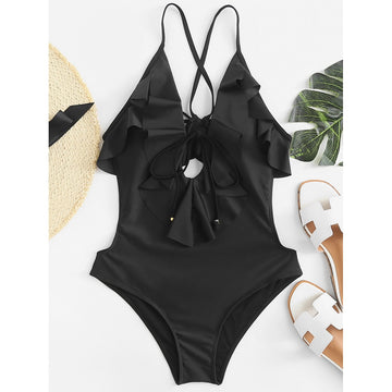 Open Back Ruffle Swimsuit - Fashiontage