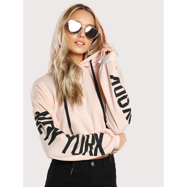 Pink Hooded Long Sleeve Pullover Top