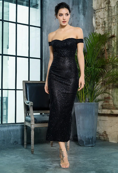 Black Ankle Length Evening Dress