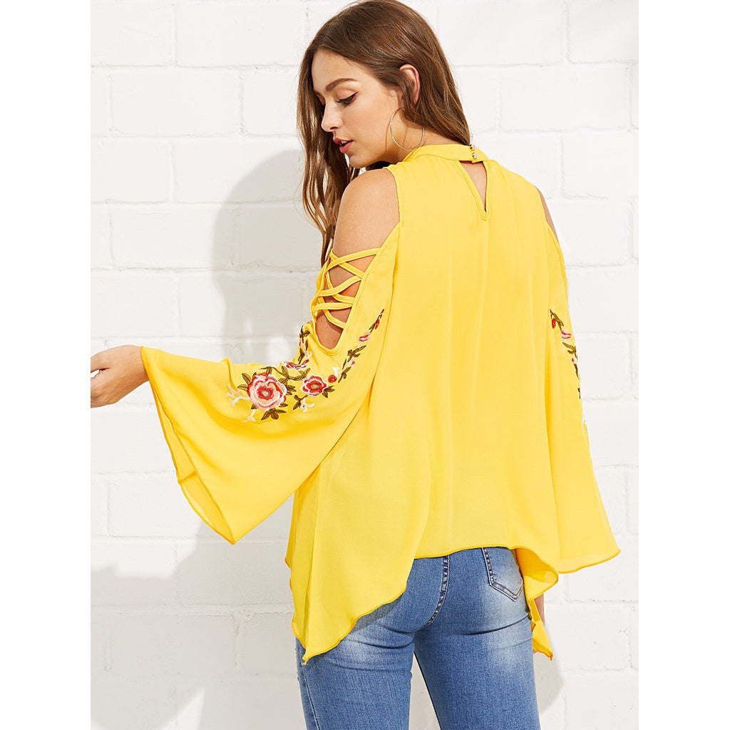 8eac41de53bf63 Fashiontage - Yellow Open Shoulder Embroidery Bell Sleeve Blouse ...