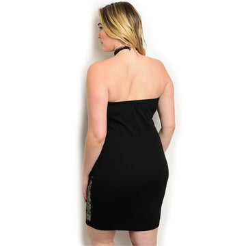 Plus Size Black Print Bodycon Dress