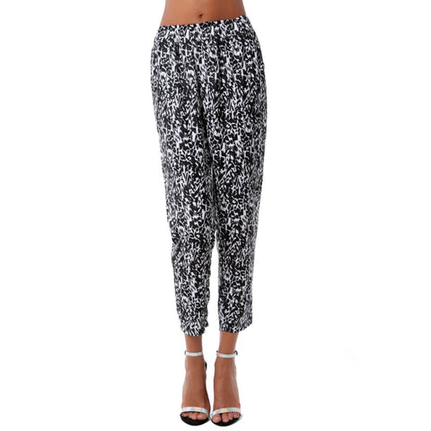 Tapered Pants - Women's Trendy Black High Rise Print Tapered Pant