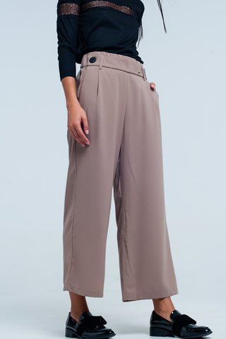 Wide Leg Pants - Women's Trendy Beige Relaxed Fit Wide Leg Pant