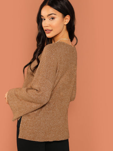 Camel Brushed Waffle Knit Long Sleeve Sweater