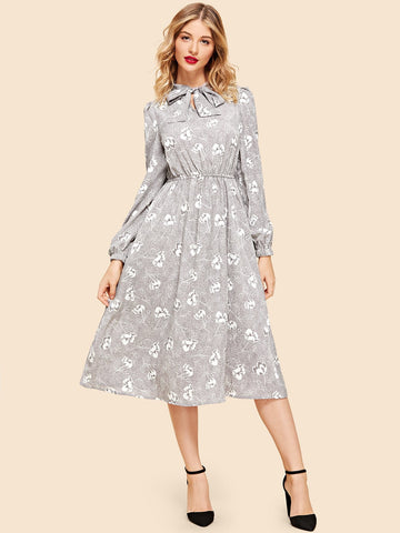 Day Dresses - Women's Trendy Grey Button Up Tie Neck Dress