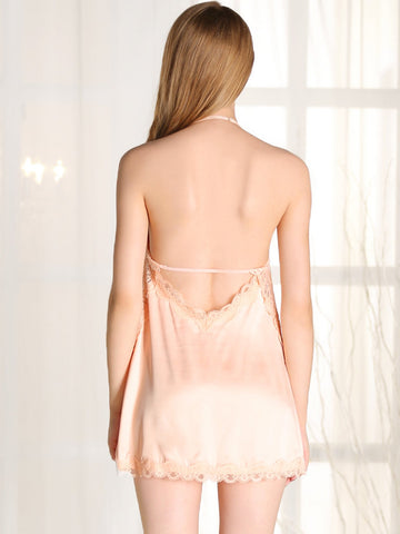 Nightwear - Women's Trendy Halterneck Backless Contrast Lace Night Wear