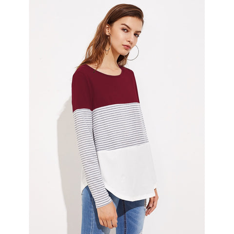 Multicolor Round Neck Long Sleeve Tee
