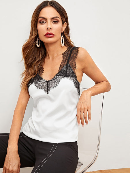Black and White Lace Panel Vest