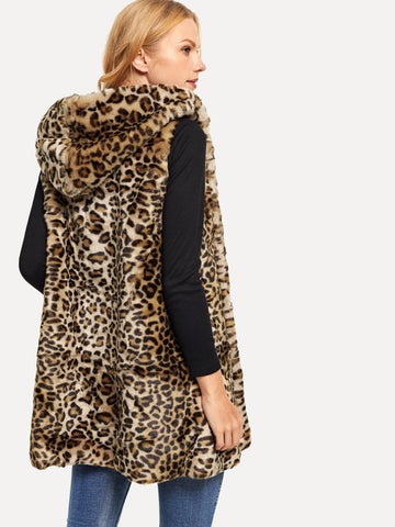 Vests & Tank Tops - Women's Trendy Multicolor Hooded Leopard Print Faux Fur Vest