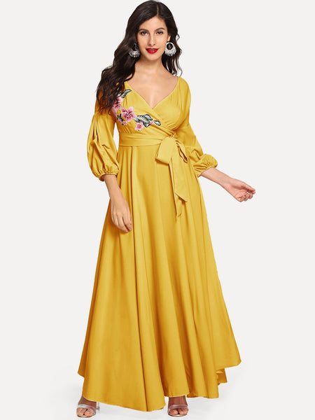 Yellow Floral Puff Sleeve Wrap Maxi Dress