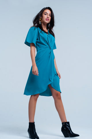Green V-Neck Short Sleeve Midi Dress