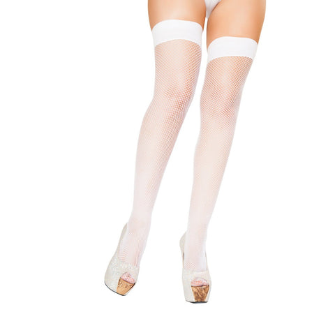 Plus Size White Fishnet Stockings