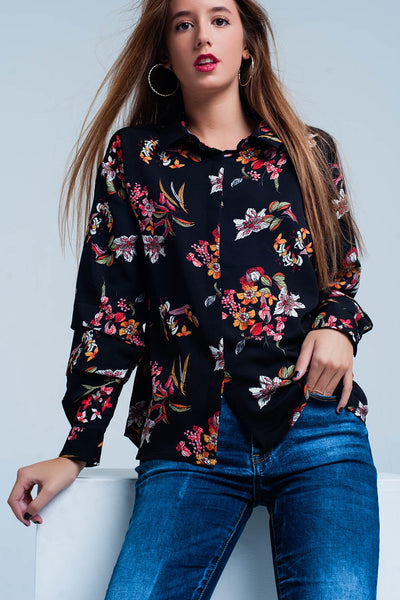Black Flower Print Blouse