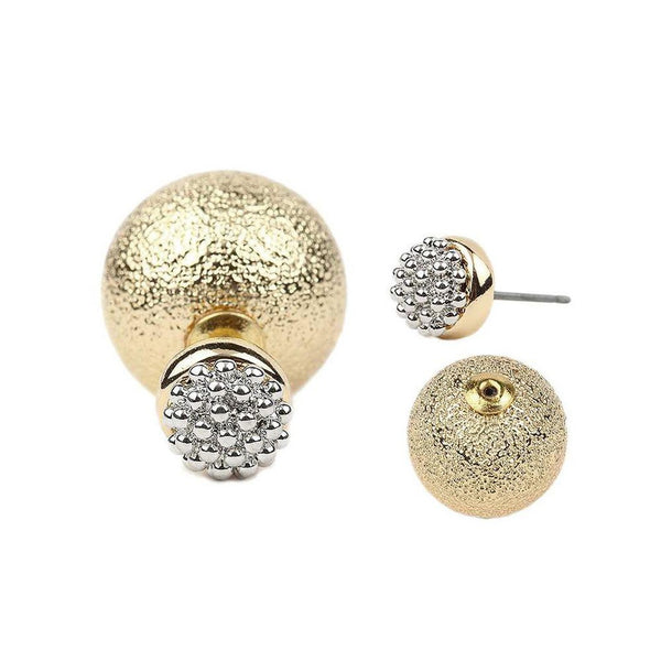 Best Fashiontage - Gold Double Sided Earrings - 907168514109 ZU84