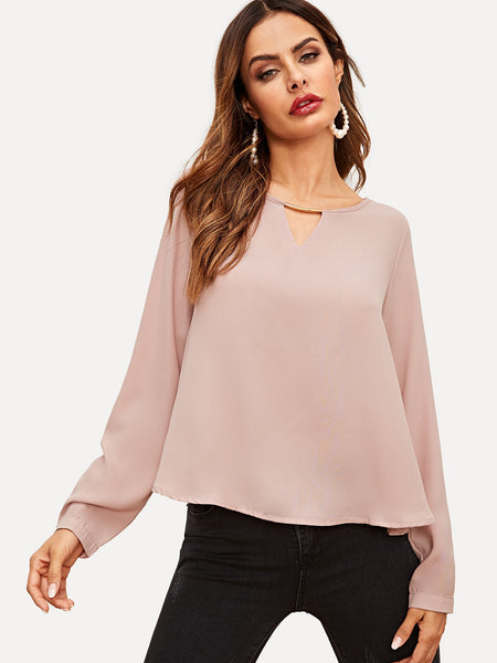 Pink Solid Cut Out Asymmetric Hem Blouse