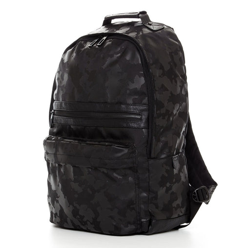 Black Padded Leather Large Backpack