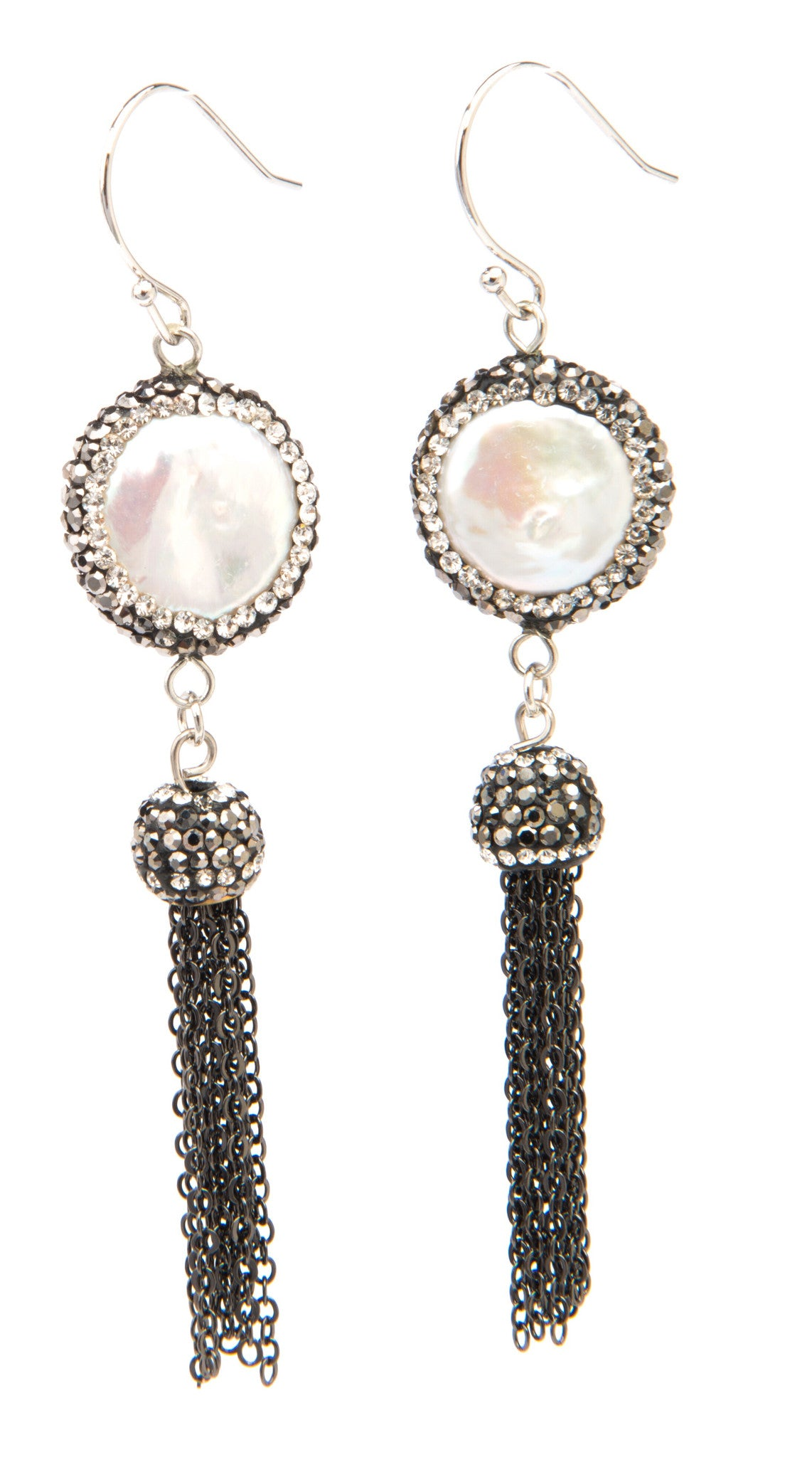 Natural coin pearls and sparkling crystal Earrings